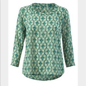 CAbi Jade Leaf Print Blouse in size Medium